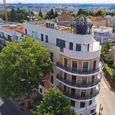immobilier neuf à châtillon, vue aérienne de tour de biret