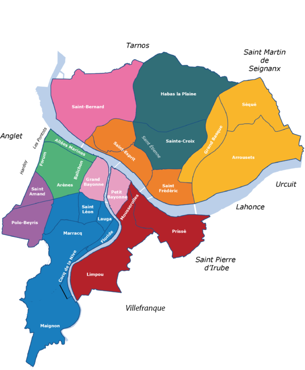 Carte des quartiers de Bayonne